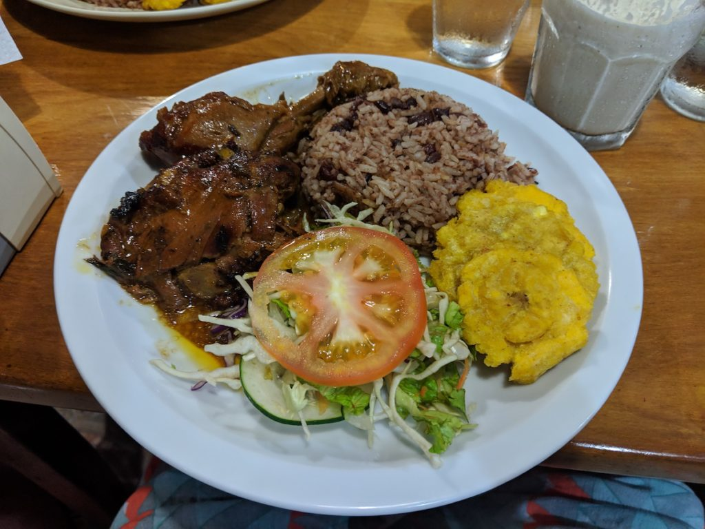 carribean food chicken rice beans platano at lydia's in puerto viejo carribean coast costa rica october 2018